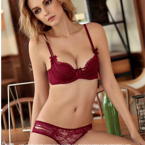 Women' underwear brief set lace single large size bra sets embroidery breathable bra breasted gather lingerie for women-Fashion3K