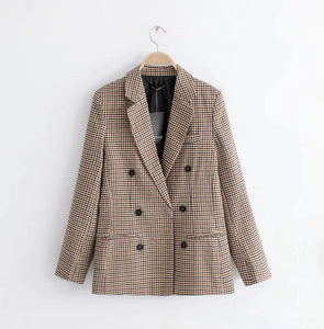 Double Breasted Short Plaid Women Blazer-Fashion3K