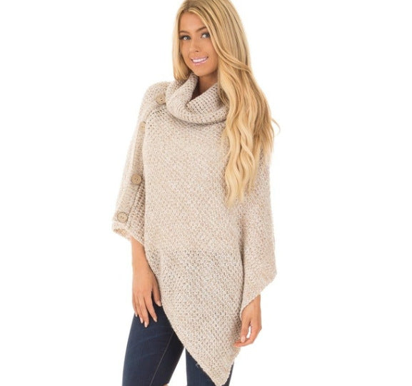 Knitted turtleneck cloak winter sweater Women Elegant button casual Oversize pullover-Fashion3K