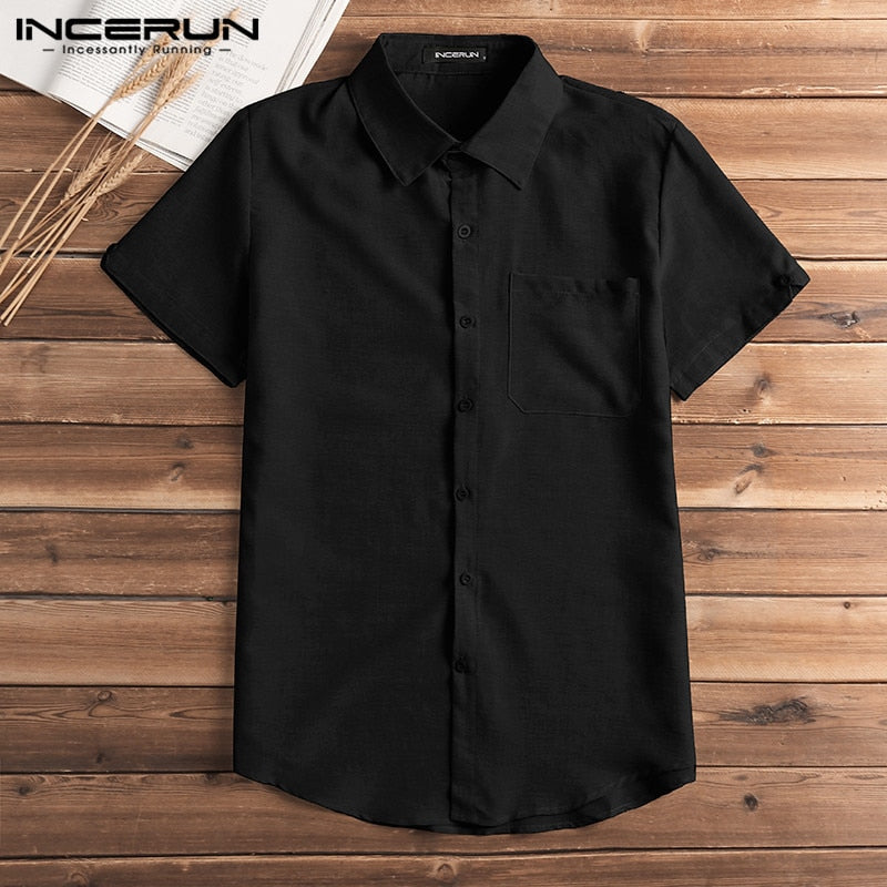 Bold Short Sleeve Shirt Men Lapel Neck Button Pockets Solid Male Shirt Fashion3K
