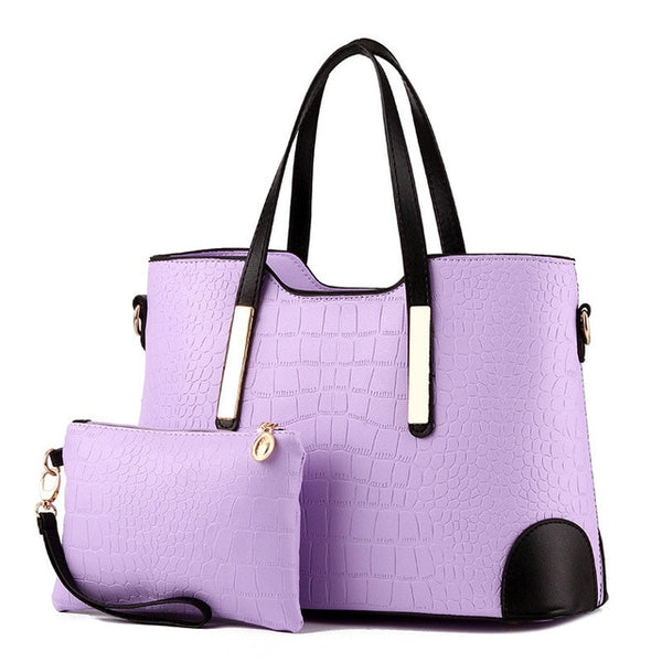 Womens Stylish Top-Handle Crocodile Pattern Composite HandBag & Purse-Fashion3K
