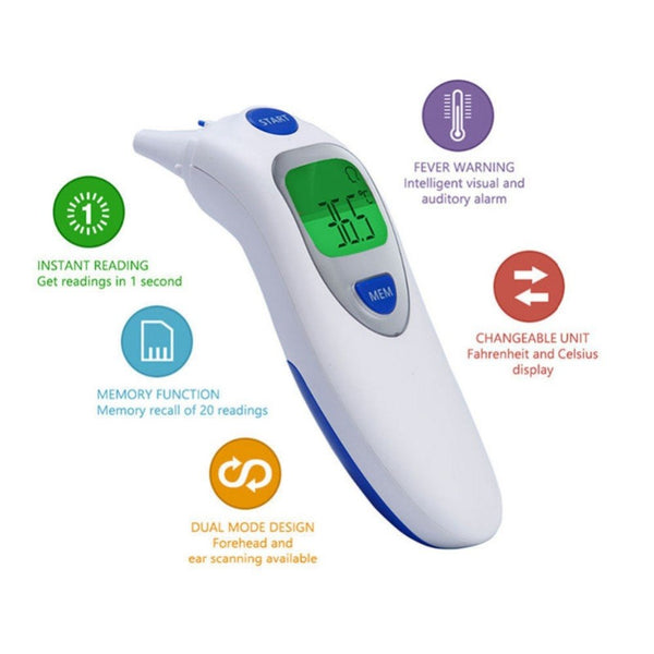 Baby Termometro Digital IR LCD Infrared Dual Mode Adult Forehead Body Ear Thermometer Measurement With Alarm Function Accurately-Fashion3K