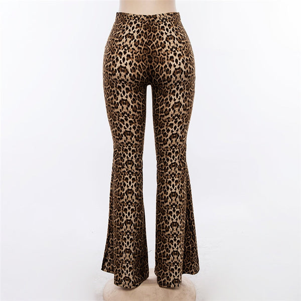 Ladies Leopard Print Flare High Waist Flare Pants-Fashion3K