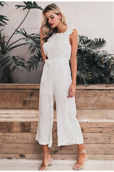 Elegant Cotton Linen Ruffled Embroidery Women Jumpsuit-Fashion3K