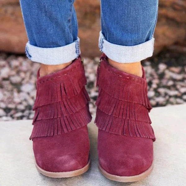 Autumn Women Shorts Boots Pointed Toe Thick High Heel Shoes Side Zipper Tassel Ankle Booties Party Shoes Dress-Fashion3K