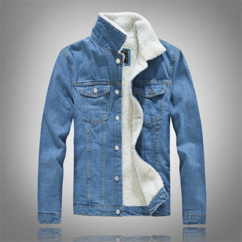 Winter Men's Casual Denim Jacket Plus Velvet Warm Cotton Coat-Fashion3K