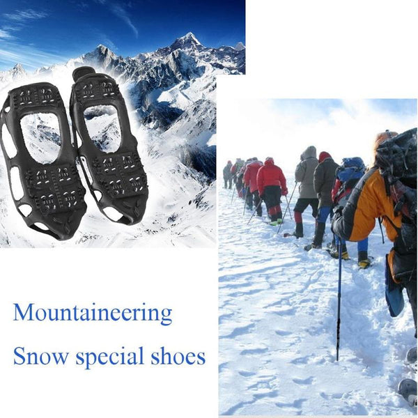 Unisex 24 Tooth Ice Gripper Spike for Shoes Outdoor Anti Slip Climbing Snow Spikes Crampons Cleats Chain Claws Grips Boots Cover-Fashion3K