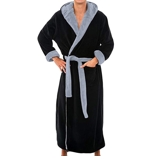 Men Bathrobe Men's Winter Lengthened Plush Shawl Bath Robe Home Clothes Long Sleeved Robe Coat Fashion3K