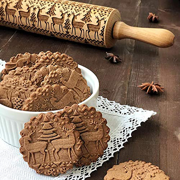 Christmas Engraved Roller Reindeer Snowflake Embossing Rolling Pin Cookies Noodle Biscuit Fondant Cake Dough walek do ciasta FB-Fashion3K