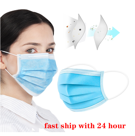 1pc Face Masks Disposable 3 Layers Dustproof Mask Facial Protective Cover Masks Set Anti-Dust Surgical Medical Salon Earloop-Fashion3K