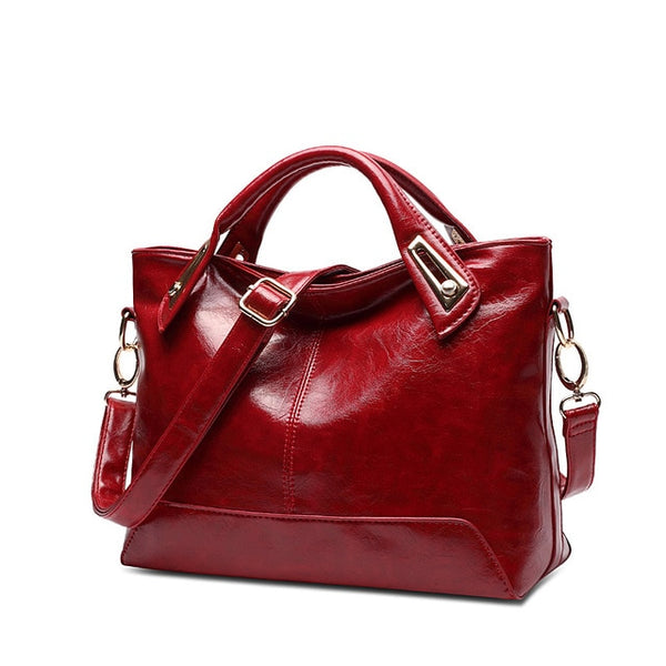 Women Oil Wax Leather Designer High Quality PU Leather Shoulder Handbags Fashion3K