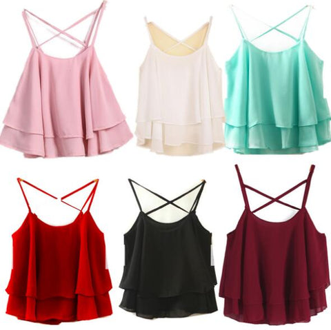 Camis Lotus Leaf Tanks Women Chiffon Summer Casual Tank Tops-Fashion3K