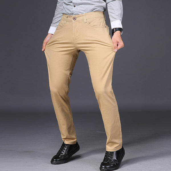 Mens Casual Pant High Stretch Elastic Fabric Skinny Slim Cutting Trouser Pocket Badge Plus Size-Fashion3K