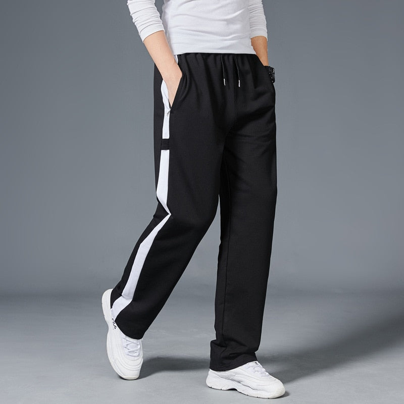 Men Loose Sport Running Stripe Sweatpants Fitness Training Pants Mens Straight Trousers Tracksuit Jogging Sportswear-Fashion3K