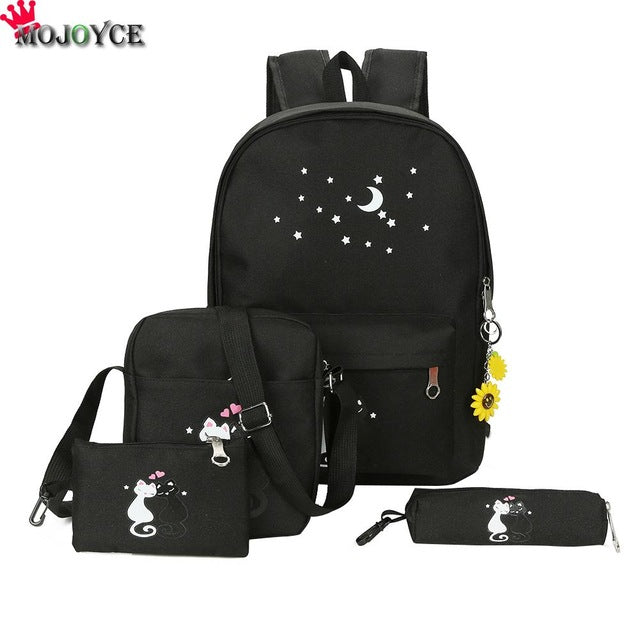 4cs/set Canvas Girls Women School Bag Backpack Cute Cat Print School Bag Fashion3K
