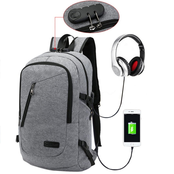 Mens Laptop backpack USB charging computer mobile devices-Fashion3K