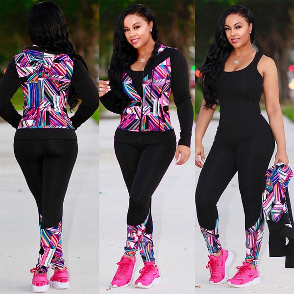 TWO PIECE SET Print Hoodies Vogue Tracksuit Pants Tweed Jacket Long Sleeve Women Sweat Suit Plus Size Sweatshirt Winter Outfits-Fashion3K