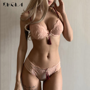 Padded Lace Push Up Bra Set With Tassels-Fashion3K