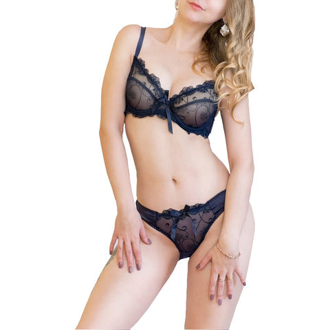 Sexy Transparent Lace Bra & Panties Set-Fashion3K