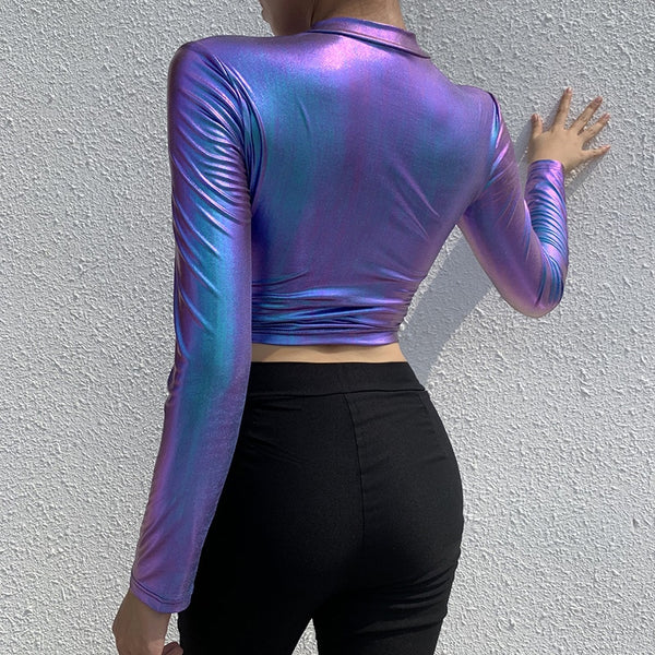 Laser Effect Zipper Woman Tops Skinny Holographic Sexy Party Clubwear Long Sleeve Bodycon Short Style Hoodies Holiday-Fashion3K