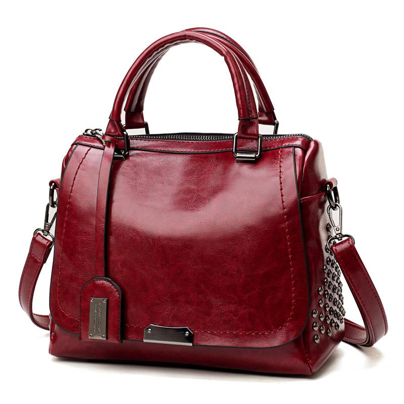 Elegant Rivet Ladies large capacity Shoulder Cross body Handbag SALE - Red / 28*21*14cm -