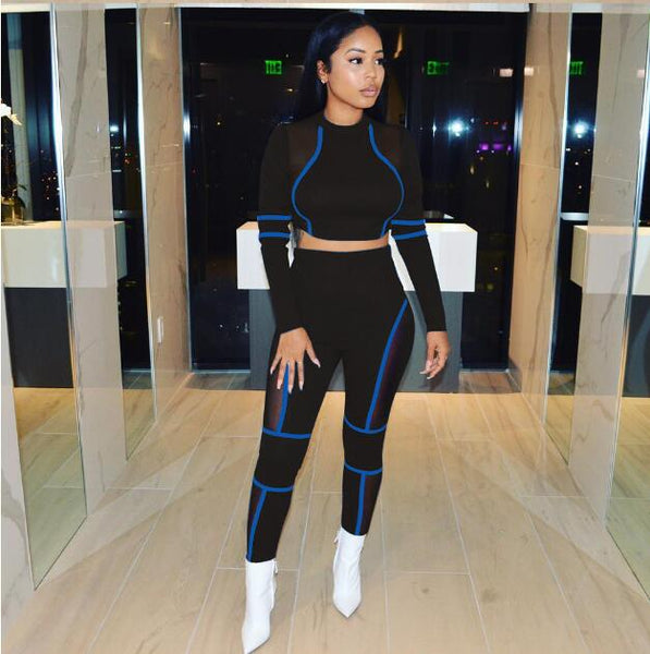Striped Patchwork Mesh Matching Summer Set Tracksuit Women Sport Suit Long Sleeve Two Piece Set Crop Top and Pants Outfits-Fashion3K