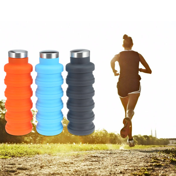 School Travel Sports Silicone Collapsible Retractable Folding Water Bottle Fashion3K
