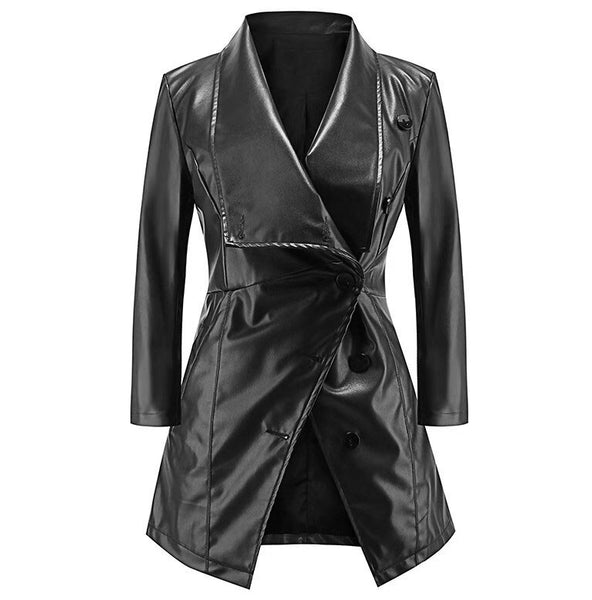 Women's Leather Jacket with 3/4 length Sleeves On SALE NOW-Fashion3K