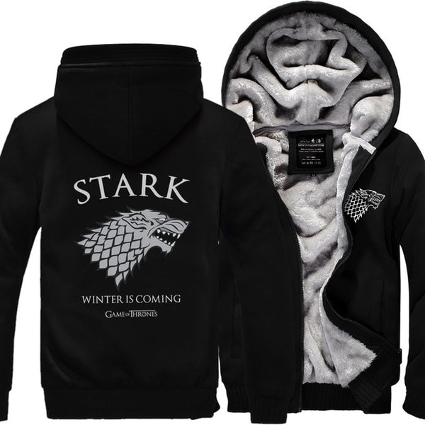 Fleece Thicken Sweatshirt Men Brand High Quality Jackets Coat Men's Sweatshirt Game of Thrones House-Fashion3K