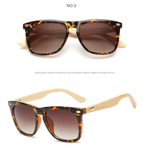 Rectangle Trendy Eco-Friendly Wooden Sunglasses Real Natural Bamboo-Fashion3K