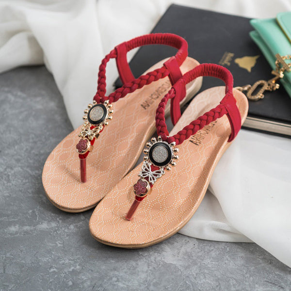 T-Strap Shoes Women Sandals Summer Flat Sandals Bohemian Flip Flops Women Shoes Fashion3K