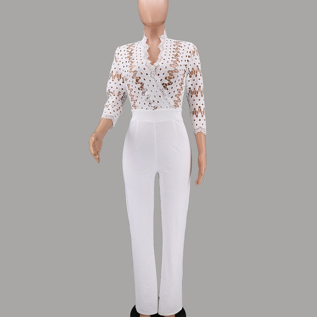 Elegant White Long Sleeve Women Jumpsuits Rompers-Fashion3K