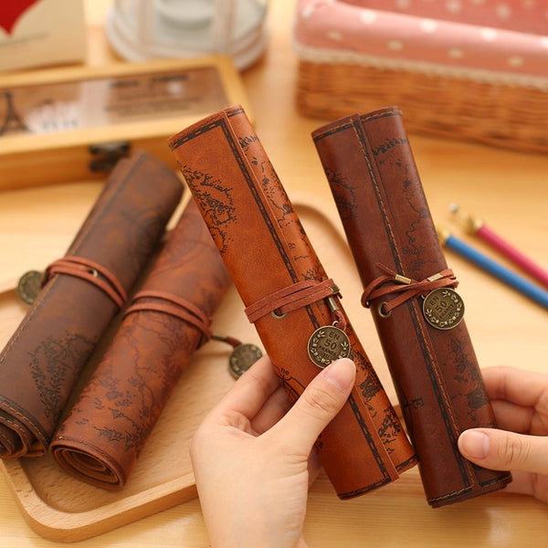 On Sale ! Retro Leather Pencil Case-Fashion3K