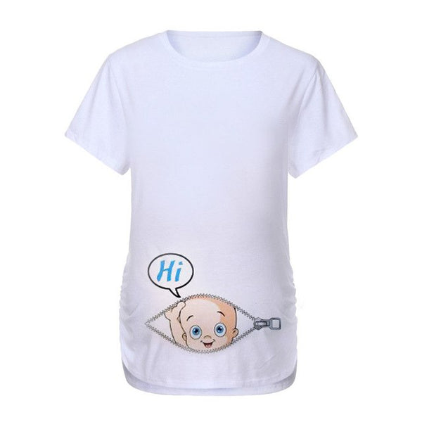Women Maternity Short Sleeve Cartoon Letter Print Tshirt Tops-Fashion3K