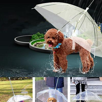 Transparent Pet Umbrella Portable Built-in Leash Puppy Umbrella Cat Raincoat-Fashion3K
