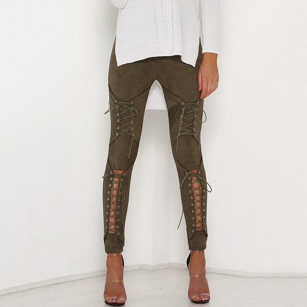 Women Sexy Lace Up Suede Stretch Pencil Pants-Fashion3K