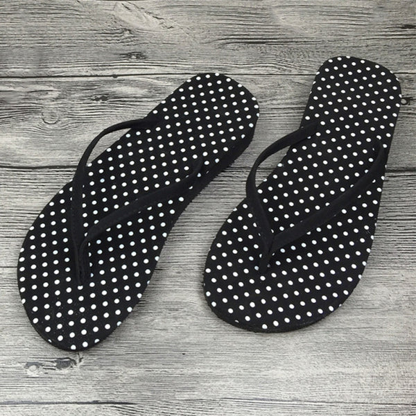 Girls Women Fashion Black White Stripes Polka Home Beach Comfy Lightweight Slippers Fashion3K