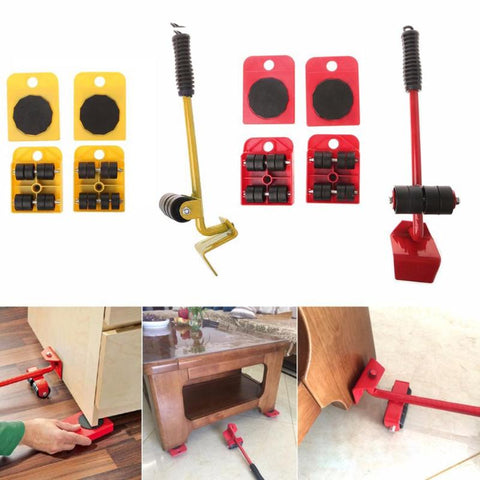 Furniture Mover Tool Set Furniture Transport Lifter Heavy Stuffs Moving Tool 4 Wheeled Mover Roller+1 Wheel Bar Hand Tools Set-Fashion3K