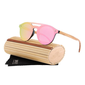 Handmade Wood Sunglasses Unisex Round Bamboo Designer Retro Frame UV400-Fashion3K
