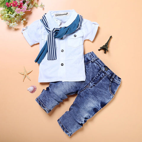 Boys Clothing Sets of T-shirt or Shirt+Jeans Kids Toddler Clothing Fashion3K