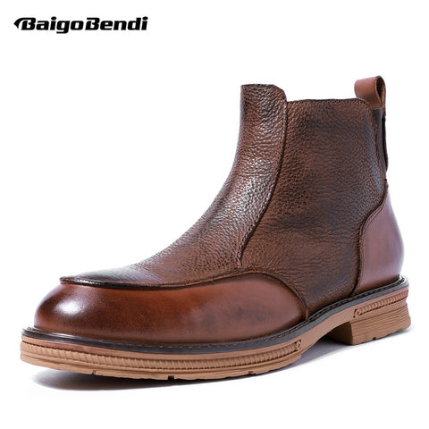 Hight End Men Winter Shoes Full Grain Genuine Leather Chelsea Zip Ankle Boots-Fashion3K
