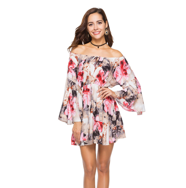 Sunflower Print Loose Summer Hawaii Dress For Women-Fashion3K