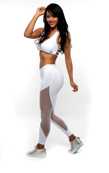 SALE Latest Trendy Mesh Polyester Leggings in White & Black Colors-Fashion3K