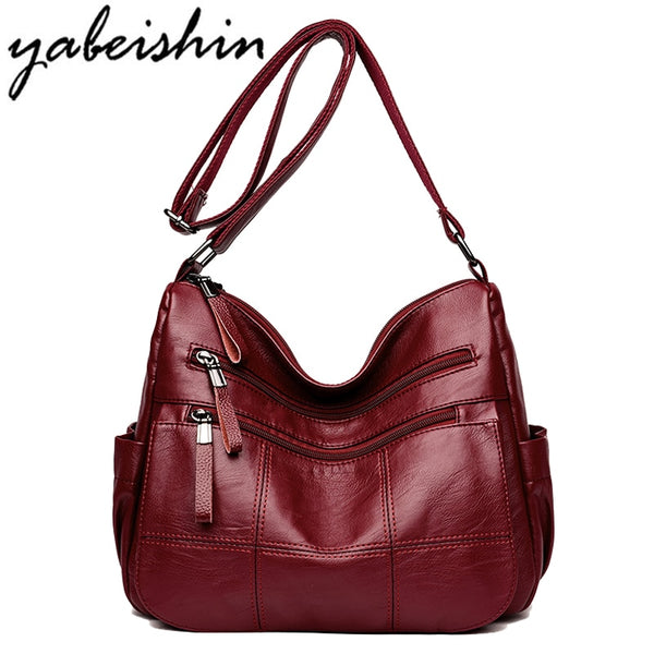 Women Luxury Leather Shoulder Office Handbags-Fashion3K