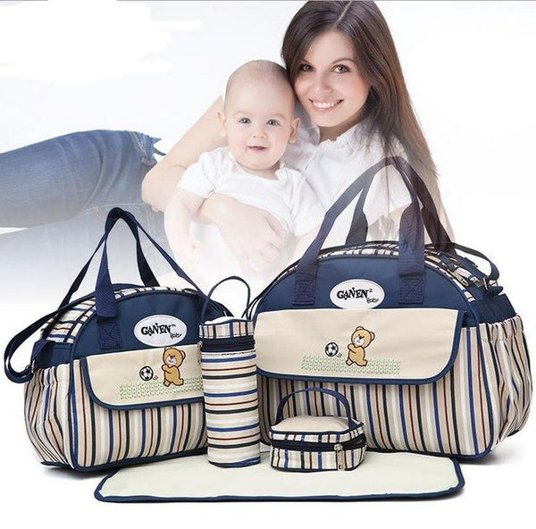 5 PCS/SET Baby Nappy Bags Diaper Bag Mother Shoulder Bag Maternity Gift Set Fashion3K