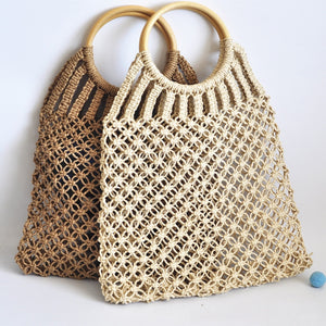 Eco-Friendly Hand-knitted Hollow Handbag Wooden Ring Beach Shopping Bag-Fashion3K