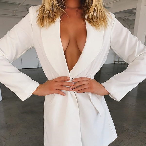 White Long V Neck Women Blazer! Hurry BUY NOW!-Fashion3K