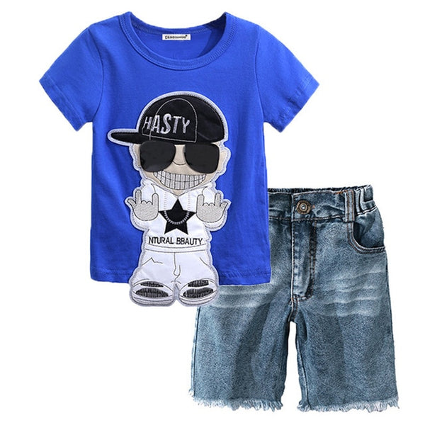 2pcs Summer Clothing for Boys T-shirt &Trousers-Fashion3K