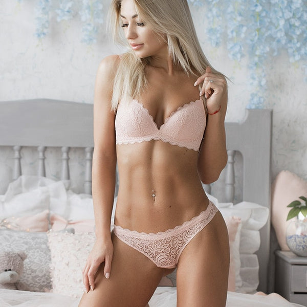 Sexy Intimates Bra Set wire free Underwear Lace Lingerie Push Up bralette Comfortable Bra and panty Sets-Fashion3K