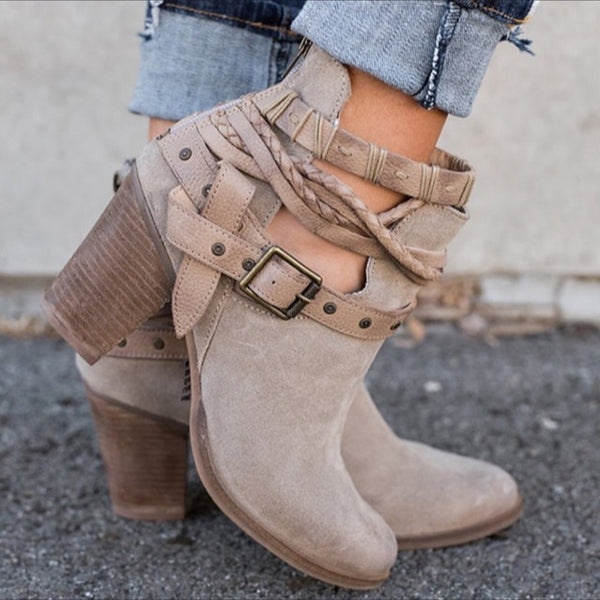 Women Winter Ankle Boots Buckle Strap Platform Shoes Ladies High Heels Western Boots-Fashion3K